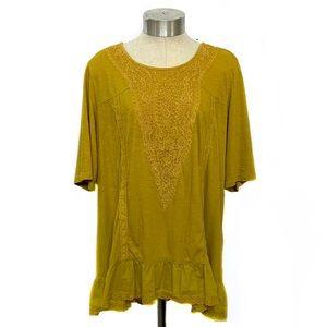 LOGO by LORI GOLDSTEIN Mustard Yellow Knit Top XL